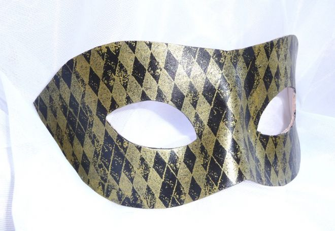 Genuine Handmade Unique  Embellished Black & Gold Harlequin Leather Mask